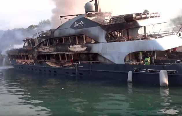 Burned superyachts Barbie marina fire