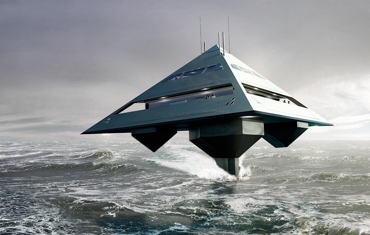 Schwinge Tetrahedron - flying pyramid superyacht