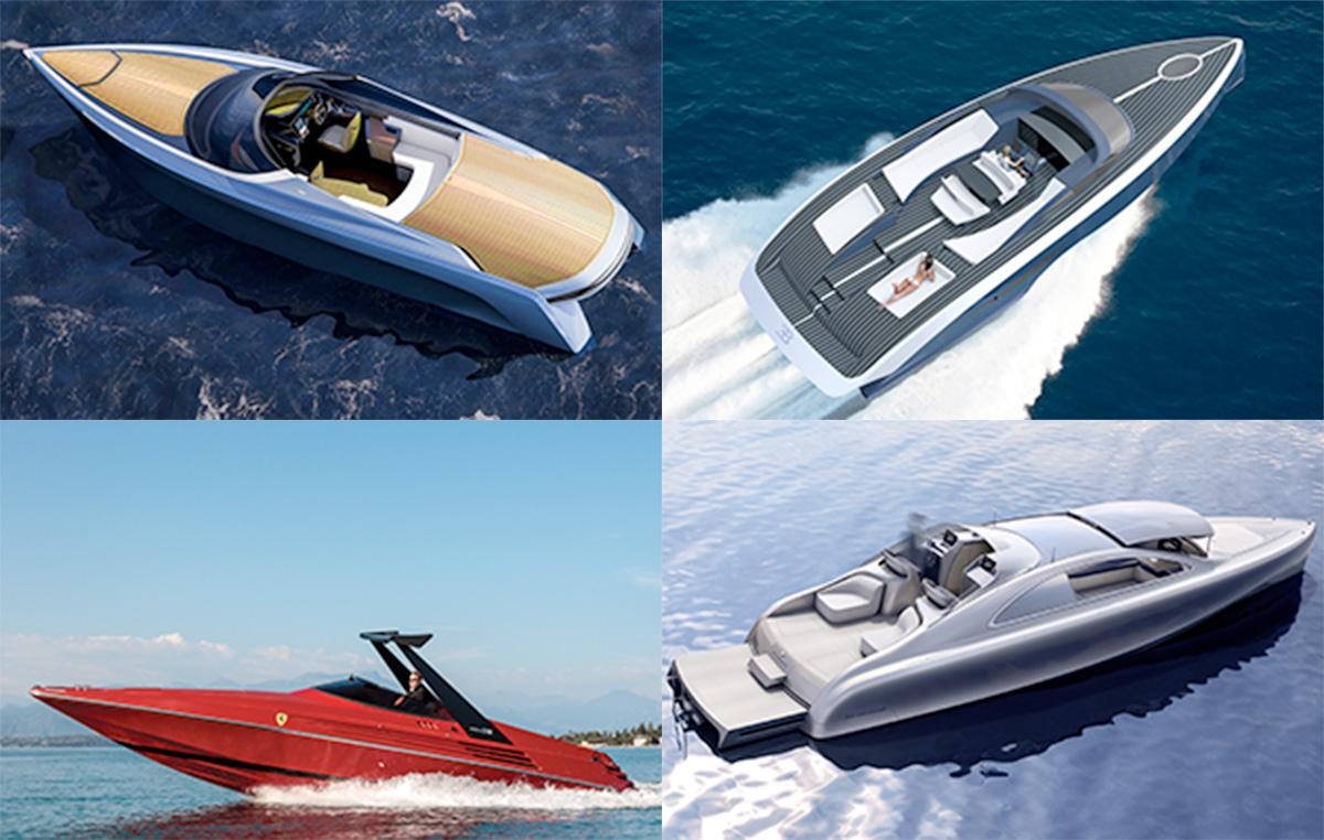 Supercar motorboat crossover composite image