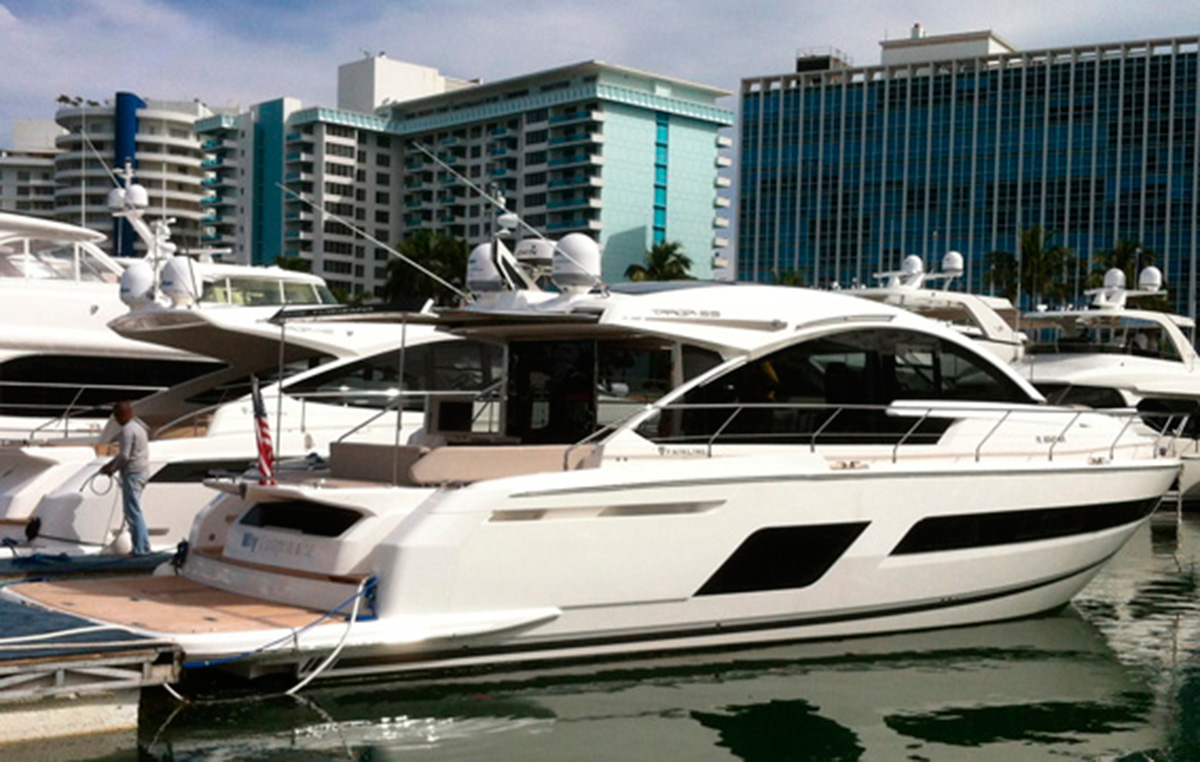 Fairline Targa 53 at Miami Boat Show comeback