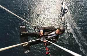 Alex Thomson kite surf stunt