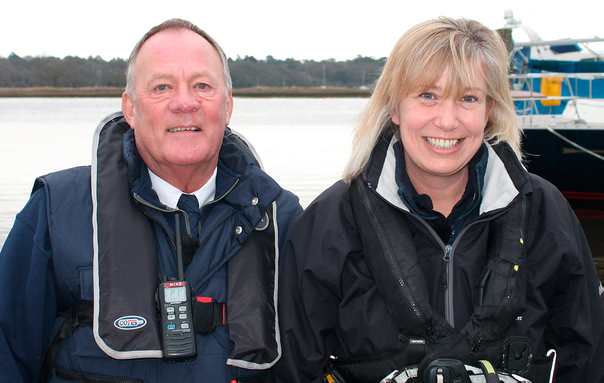 Former harbourmaster Mike-Nicholls and Wendy Stowe, one of the UK's first female harbourmasters