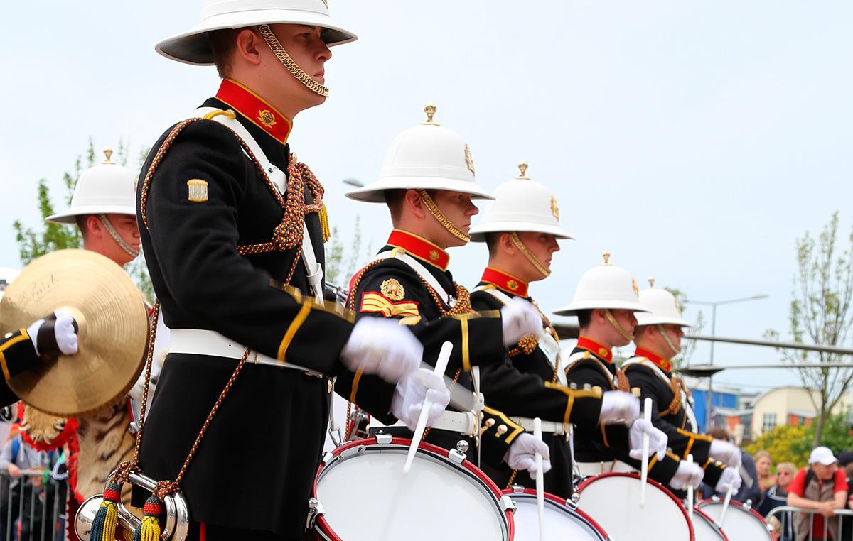 Royal Marines Band performing at the 2012 Jersey Boat Show