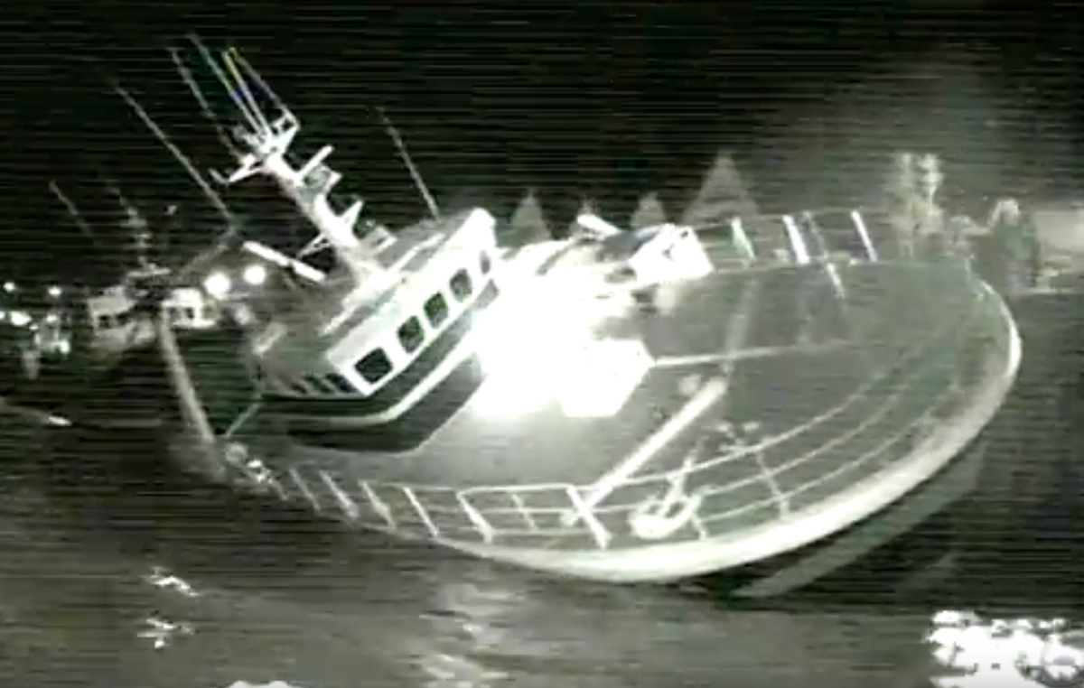 Listing fishing vessel sinks in Dartmouth harbour