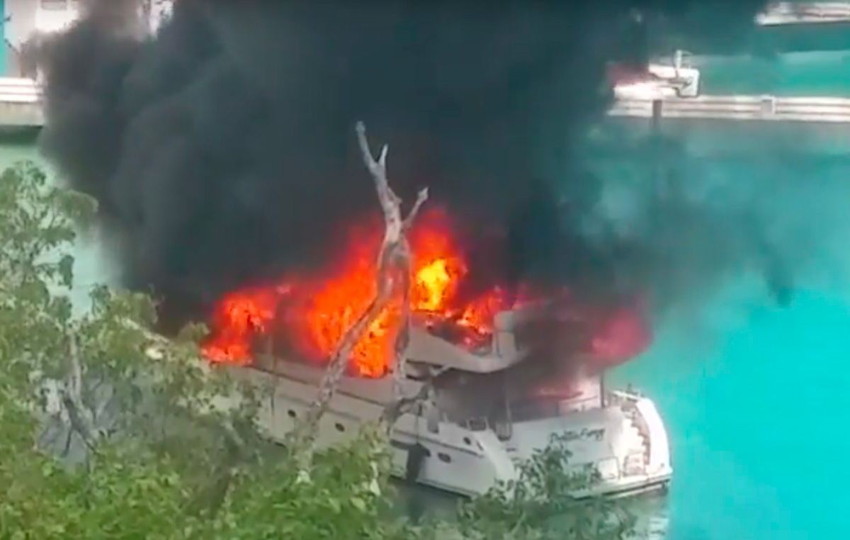 Burning superyacht filmed in USVIs