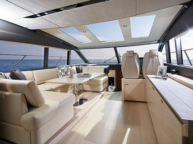 Princess V58 - the forward part of the main deck is a plush upper saloon