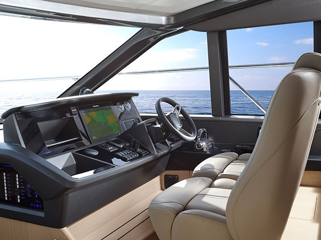 Princess V58 - twin helm station is clear and classy