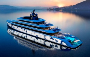 Van Geest Moonstone shimmering superyacht at night