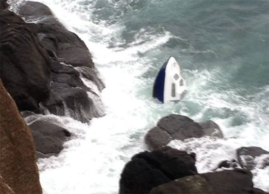 The boat starts sinking off Ramore Head. Pic: Coleraine Coastguard