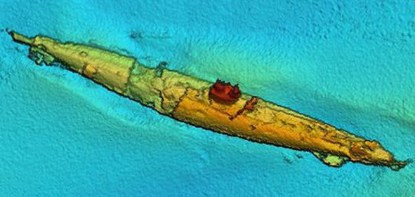 The WWI boat is revealed looking intact in remarkable sonar images