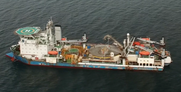 Western Link subsea cable installation vessels off the Ayrshire Coast