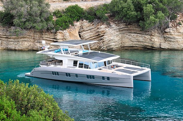 Solar panels on the folding hardtop and flybridge can generate up to 15kW