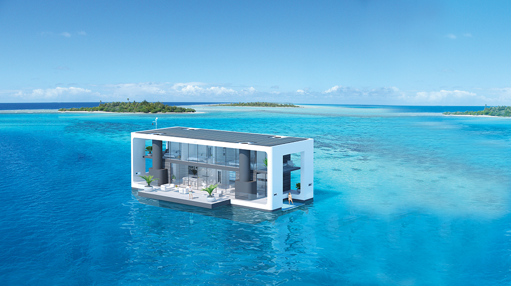ARKUP self-elevating house boat render