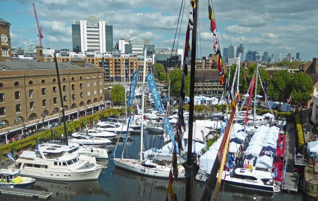St Katharine Docks was chosen as the venue for the inaugural London Yacht Show