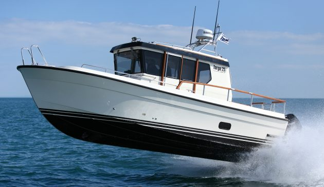 Twin outboards suit the Targa's purposeful looks well and give a top speed of 44 knots.