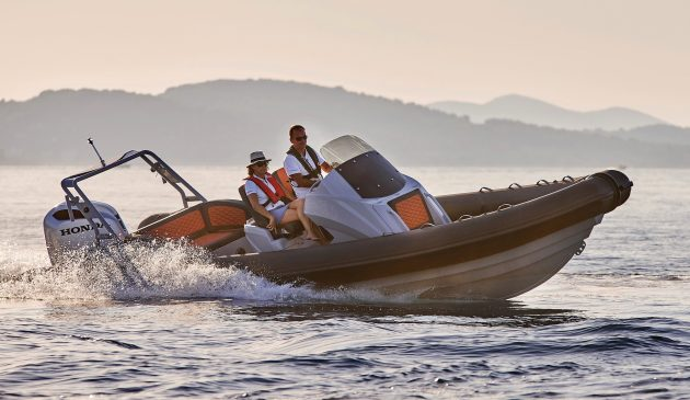 Deep-vee aluminium hull  and Hypalon tubes deliver a soft, stable ride and strong, fuel-efficient performance