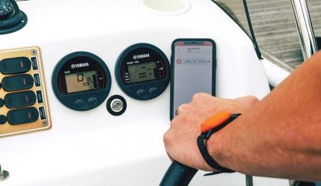 The skipper wears the OLAS tag like a wristband and is free to move around the boat. This sends a constant stream of signals to the receiver (below). As soon as the signal is lost by moving out of range or being cut off by water, the engine is switched off within two seconds
