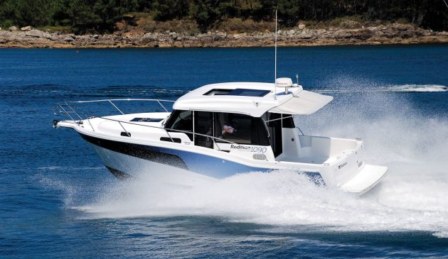 Flush-fitting glass in the hull and wheelhouse helps shift the emphasis from fishing to cruising