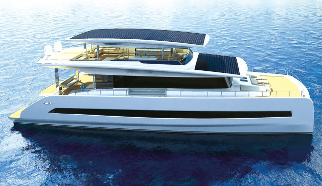 64 solar panels provide enough power to propel  the Silent 80 at 6-7 knots