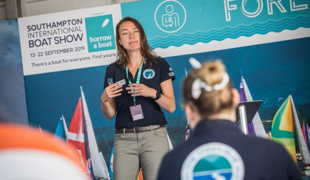 Kate Fortnam, The Green Blue campaign manager, speaking at Southampton International Boat Show 2019