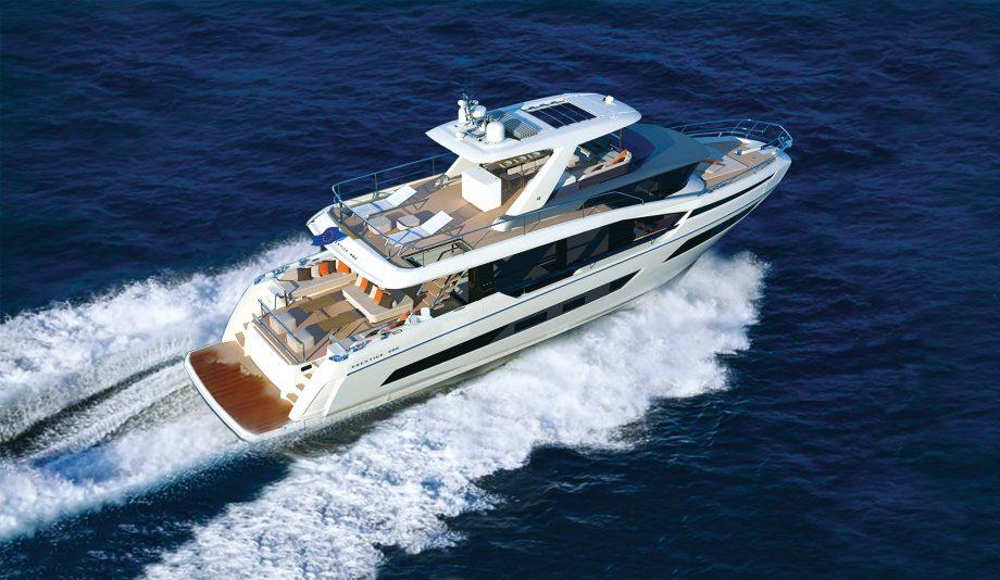 Prestige-X70-crossover-yacht-running-shot-garroni-design
