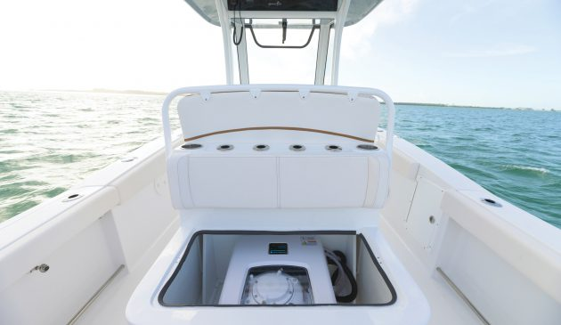The Seakeeper 1 is small enough to fit under the seat of this 27ft centre console craft