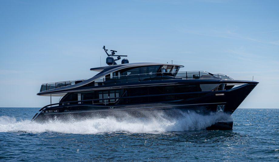 princess-x95-exterior-blue-hull-sea-trial-side-view