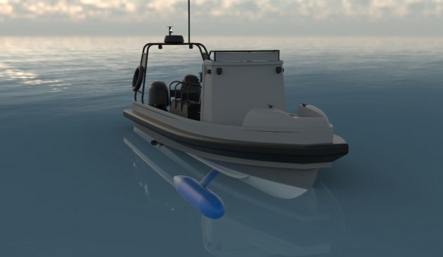 An air-filled keel bulb swings from side to side, using its buoyancy to negate roll