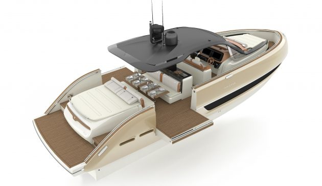 The aft sun pad lifts to reveal a tender garage; drop down platforms are a nice touch