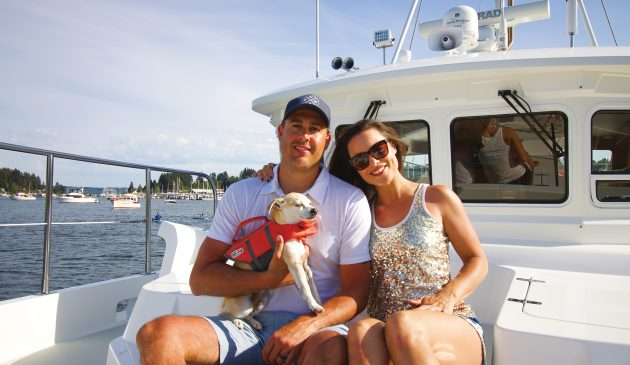 Elizabeth and Shawn now live aboard permanently with their rescue puppy, Mr Sully. All photos: Elizabeth Krenke