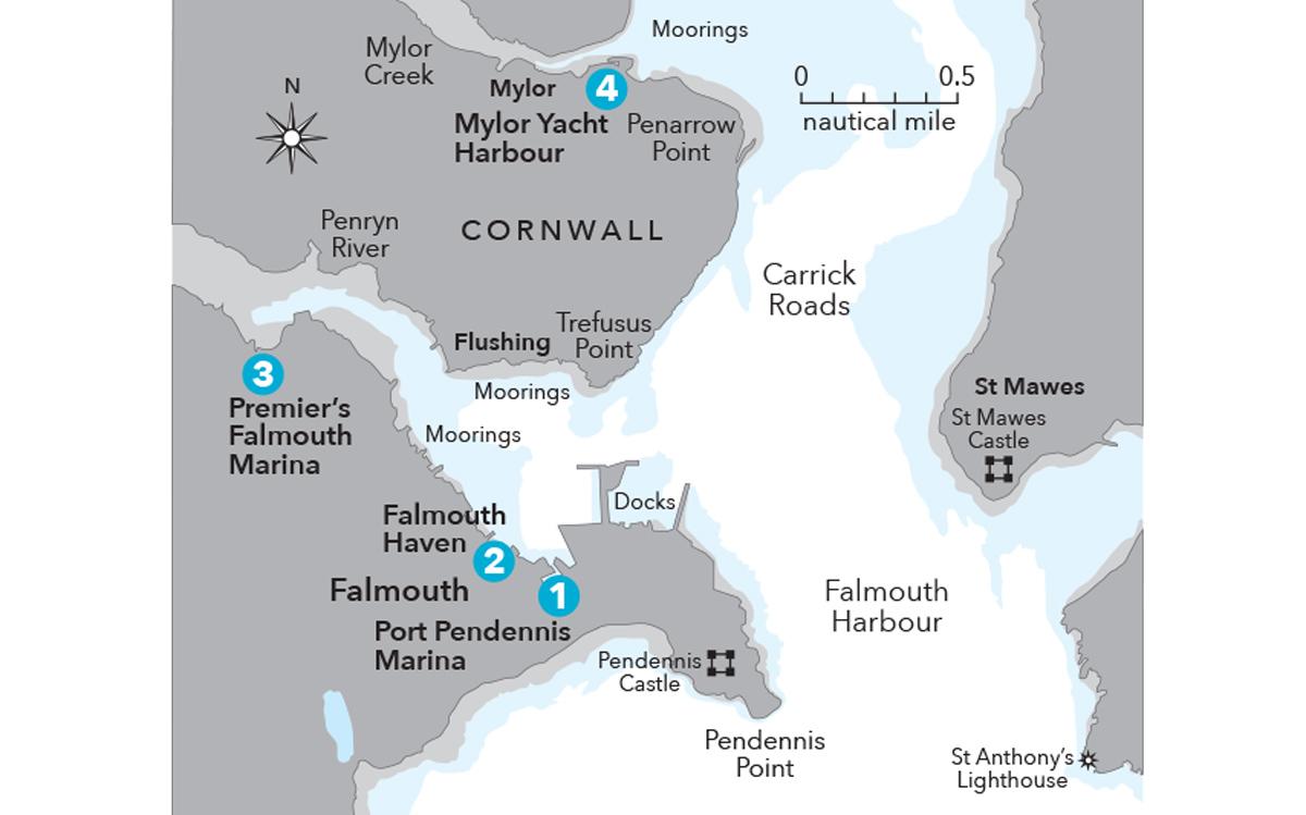 cruising-falmouth-cornwall-berths-map
