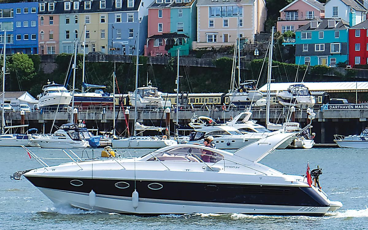 cruising-south-west-england-Dartmouth-fairline-targa-34-side-view-credit-Sheeleagh-Lyons