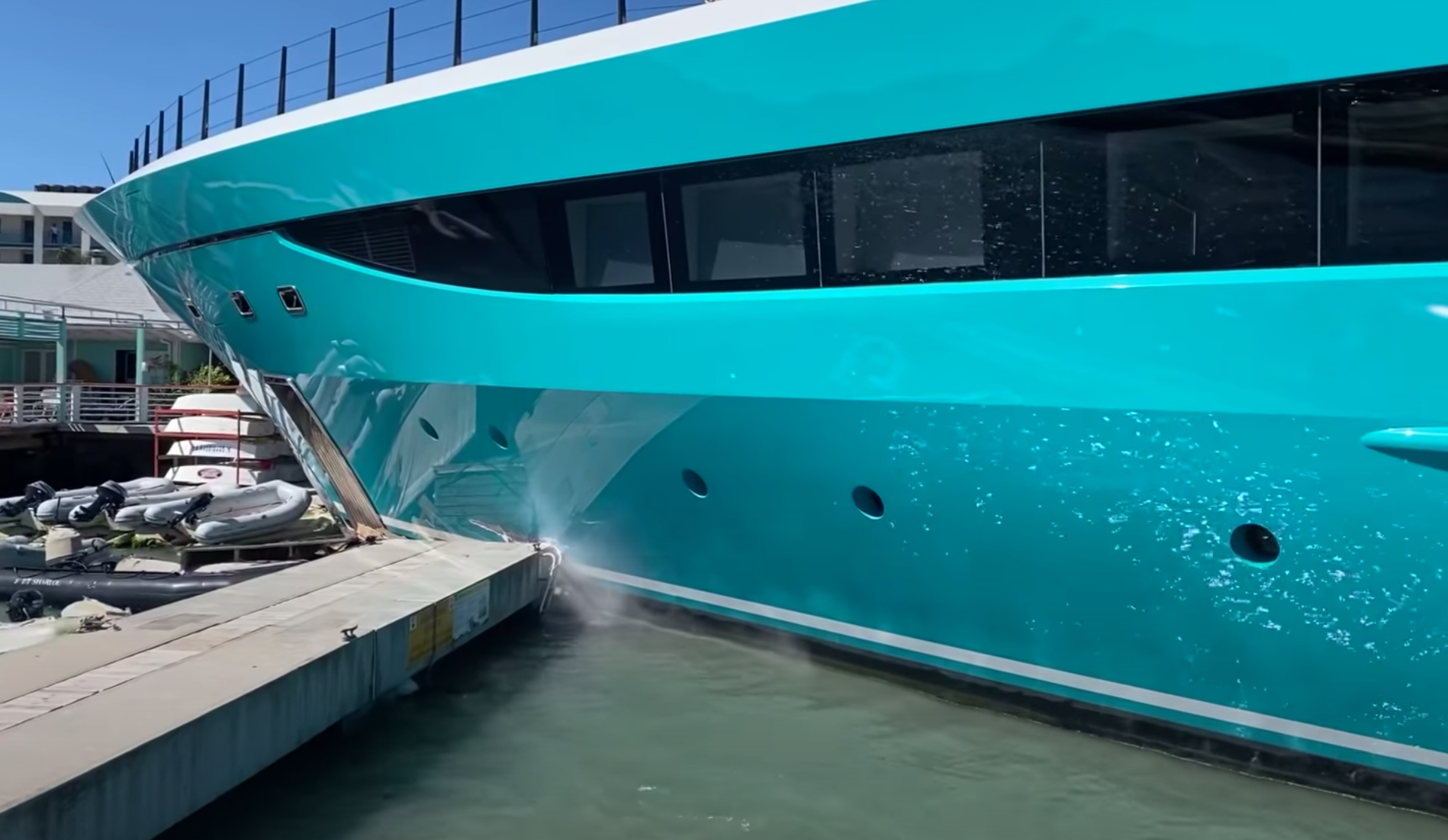 Superyacht crash video shows 77m Go colliding with Caribbean dock