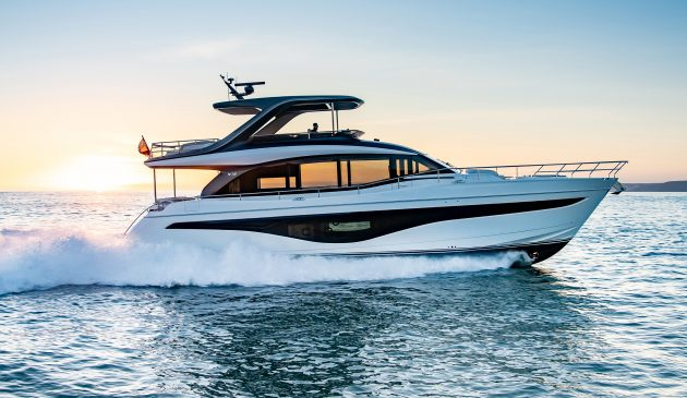Twin 1,650hp MAN V12s propel the Princess Y72 to a top speed of 34 knots