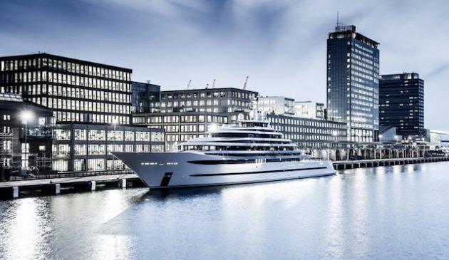 The 110m Oceanco megayacht Kaos docked in London. Photo: Tom Van Oossanen