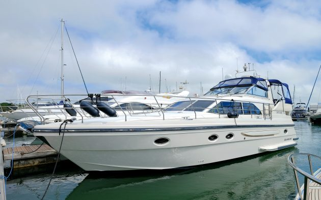 The Atlantic 460 cuts a contrasting shape to the Fairline Phantom 430 behind