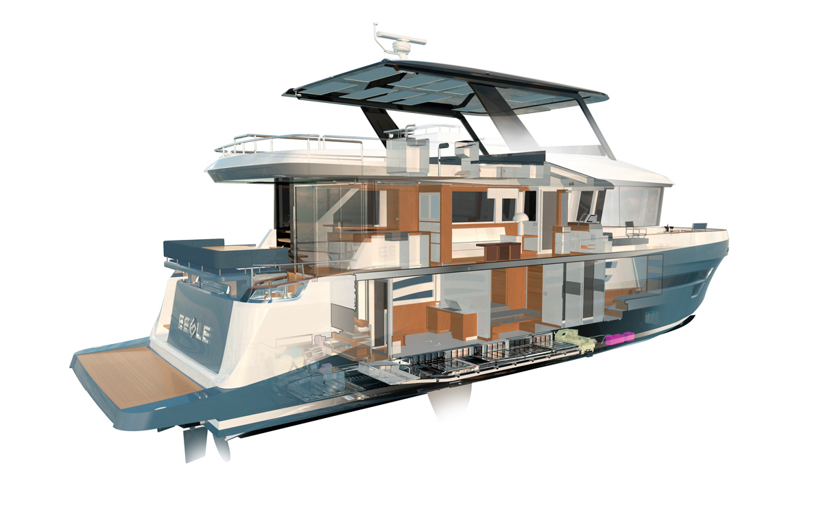 Eegle-electric-trawler-yacht-cross-section