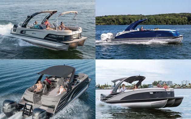 Clockwise from top-left: Tahoe 2585, Harris Crown 270, Bennington QX, Bennington 25 RX Sport