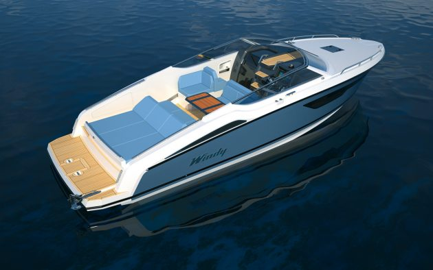 The sleek new 34ft Windy will pack a pair of petrol or diesel sterndrives