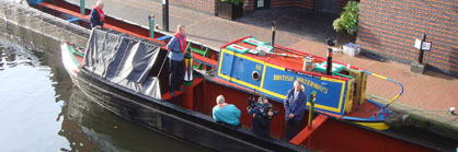 A barge moored in Brindley Place, Birmingham