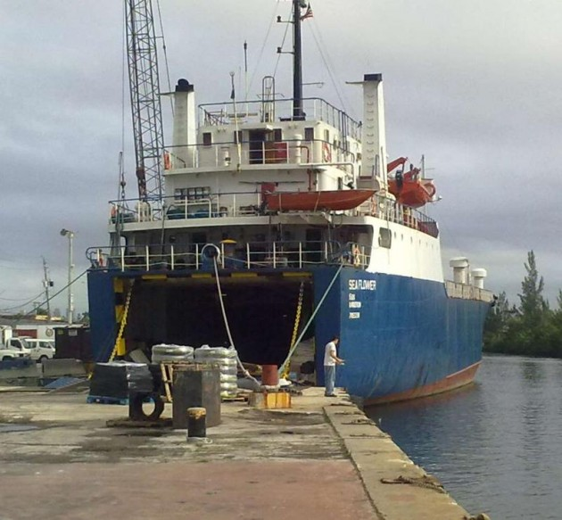 The Sea Flower is loaded with supplies, bound for Haiti
