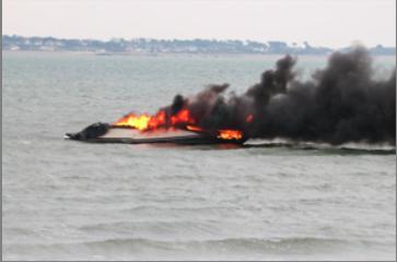 Burning boat abandoned off Calshot