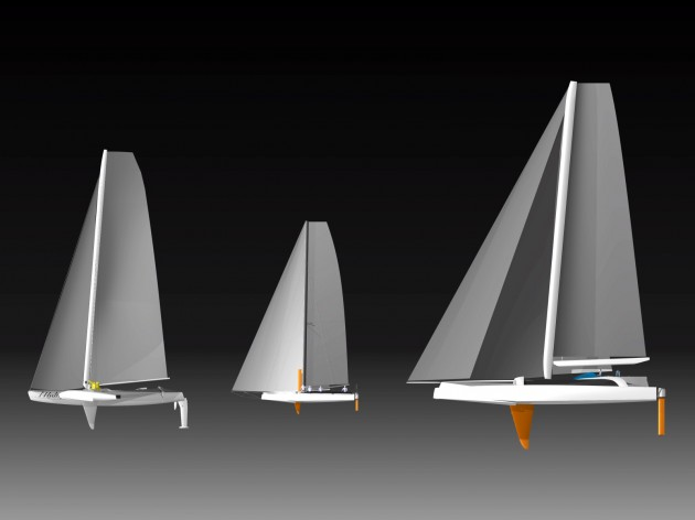 Hydroptere, scale test boat and Hydroptere Maxi