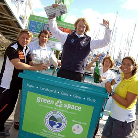Green Blue sustainable facilities officer Dan Reading with Dee Caffari and Alex Thomson