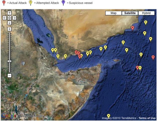 IMB Live Piracy Map 2010