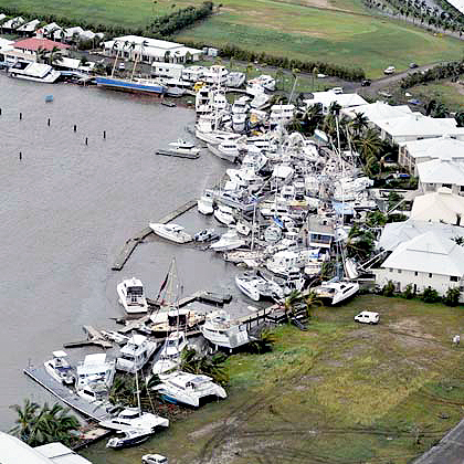 Boats smashed by Queensland cyclone