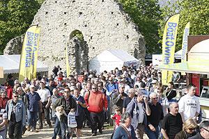 Crowds enter