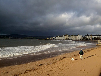 Exmouth seafront just before heavy rain