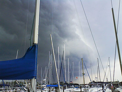 Storm covers sailboats