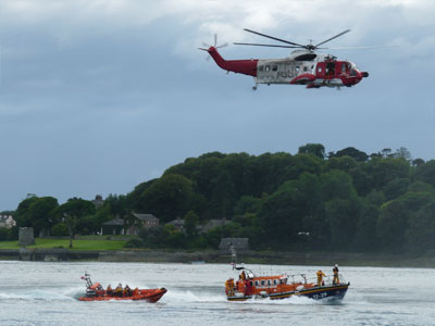Portaferry and Newcastle RNLI lifeboats with Irish Coast Guard helicopter on exercise
